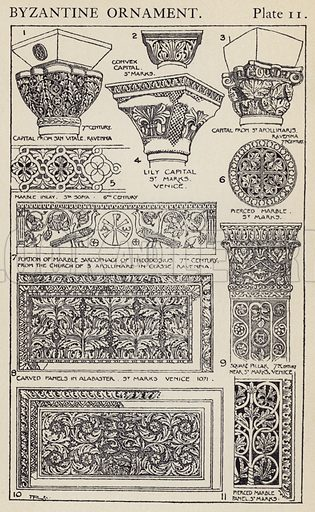 Byzantine Ornament. Illustration for A Manual of Historic Ornament by Richard Glazier (Batsford, 1899).  Illustrations are by Richard Glazier (1851-1918), who was an associate of the Royal Institute of British Architects and Head Master of the Municipal School of Art, Manchester.