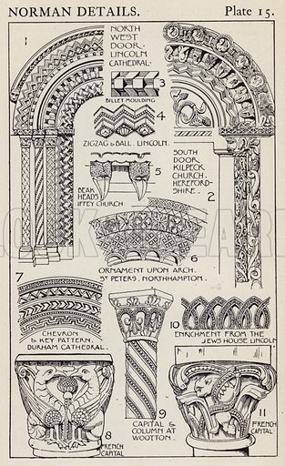 Norman Details. Illustration for A Manual of Historic Ornament by Richard Glazier (Batsford, 1899).  Illustrations are by Richard Glazier (1851-1918), who was an associate of the Royal Institute of British Architects and Head Master of the Municipal School of Art, Manchester.