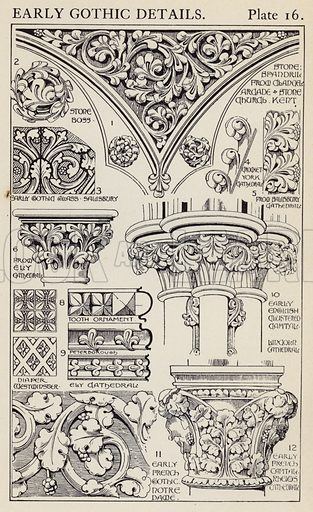 Early Gothic Details. Illustration for A Manual of Historic Ornament by Richard Glazier (Batsford, 1899).  Illustrations are by Richard Glazier (1851-1918), who was an associate of the Royal Institute of British Architects and Head Master of the Municipal School of Art, Manchester.
