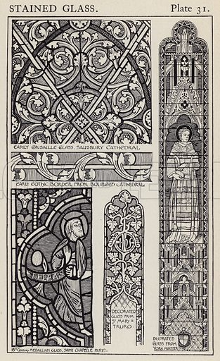 Stained Glass. Illustration for A Manual of Historic Ornament by Richard Glazier (Batsford, 1899).  Illustrations are by Richard Glazier (1851-1918), who was an associate of the Royal Institute of British Architects and Head Master of the Municipal School of Art, Manchester.