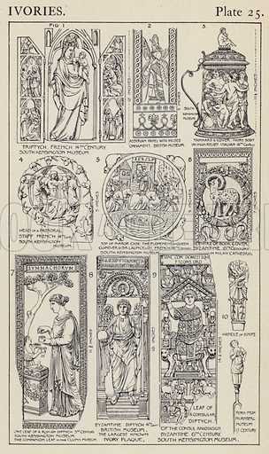 Ivories. Illustration for A Manual of Historic Ornament by Richard Glazier (Batsford, 1899).  Illustrations are by Richard Glazier (1851-1918), who was an associate of the Royal Institute of British Architects and Head Master of the Municipal School of Art, Manchester.