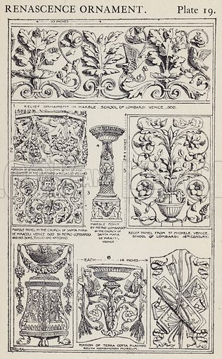 Renascence Ornament. Illustration for A Manual of Historic Ornament by Richard Glazier (Batsford, 1899).  Illustrations are by Richard Glazier (1851-1918), who was an associate of the Royal Institute of British Architects and Head Master of the Municipal School of Art, Manchester.