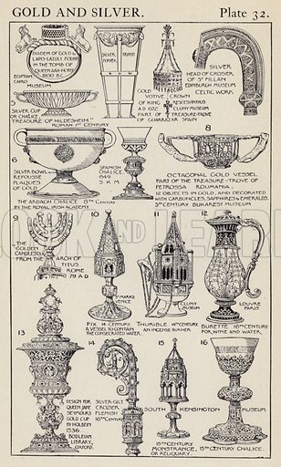 Gold and Silver. Illustration for A Manual of Historic Ornament by Richard Glazier (Batsford, 1899).  Illustrations are by Richard Glazier (1851-1918), who was an associate of the Royal Institute of British Architects and Head Master of the Municipal School of Art, Manchester.
