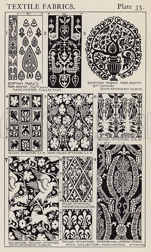 Textile Fabrics. Illustration for A Manual of Historic Ornament by Richard Glazier (Batsford, 1899).  Illustrations are by Richard Glazier (1851-1918), who was an associate of the Royal Institute of British Architects and Head Master of the Municipal School of Art, Manchester.