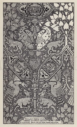 Sicilian Fabric in Gold Thread on Purple Ground, 13th Century, Bock Collection, Manchester. Illustration for A Manual of Historic Ornament by Richard Glazier (Batsford, 1899).  Illustrations are by Richard Glazier (1851-1918), who was an associate of the Royal Institute of British Architects and Head Master of the Municipal School of Art, Manchester.