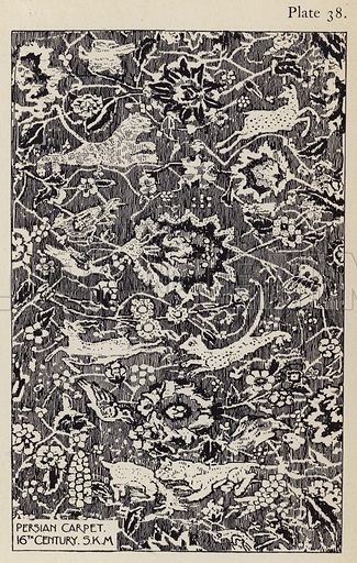 Persian Carpet, 16th Century, SKM. Illustration for A Manual of Historic Ornament by Richard Glazier (Batsford, 1899).  Illustrations are by Richard Glazier (1851-1918), who was an associate of the Royal Institute of British Architects and Head Master of the Municipal School of Art, Manchester.