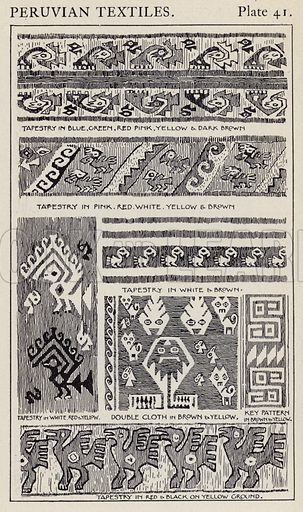 Peruvian Textiles. Illustration for A Manual of Historic Ornament by Richard Glazier (Batsford, 1899).  Illustrations are by Richard Glazier (1851-1918), who was an associate of the Royal Institute of British Architects and Head Master of the Municipal School of Art, Manchester.