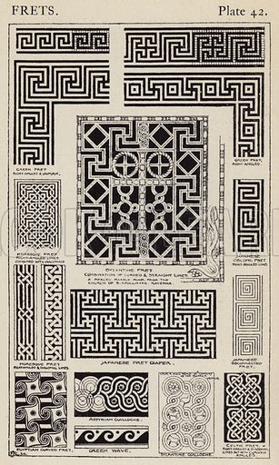 Frets. Illustration for A Manual of Historic Ornament by Richard Glazier (Batsford, 1899).  Illustrations are by Richard Glazier (1851-1918), who was an associate of the Royal Institute of British Architects and Head Master of the Municipal School of Art, Manchester.