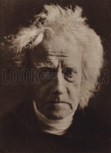 Sir John Herschel. Illustration for Julia Margaret Cameron, her life and photographic work, by Helmut Gernsheim (Fountain Press, 1948).  Gravure printed.