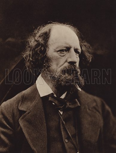 Alfred, Lord Tennyson. Illustration for Julia Margaret Cameron, her life and photographic work, by Helmut Gernsheim (Fountain Press, 1948).  Gravure printed.