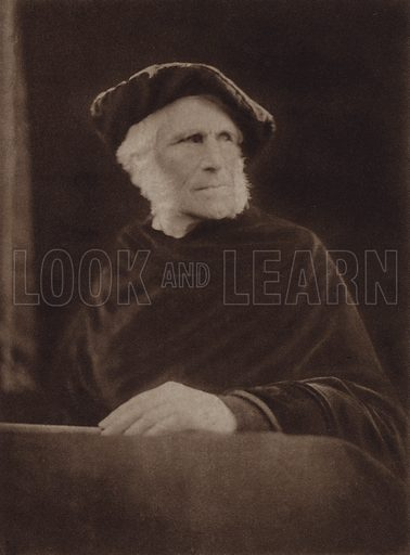 William Page Wood, Baron Hatherley. Illustration for Julia Margaret Cameron, her life and photographic work, by Helmut Gernsheim (Fountain Press, 1948).  Gravure printed.