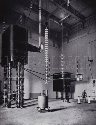 The 1,000,000-volt testing transformer in the research laboratory at Stourport. Illustration for Master Minds of Modern Science by T C Bridges and H Hessell Tiltman (new edn, Harrap, 1934).  Photo credit: none.