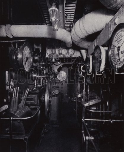 "A view of the engine-room of the RMS ""Mauretania."" Illustration for Master Minds of Modern Science by T C Bridges and H Hessell Tiltman (new edn, Harrap, 1934).  Photo credit: Photo by permission of the Cunard Steamship Co Ltd."