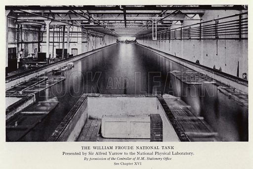 The William Froude National Tank. Presented by Sir Alfred Yarrow to the National Physical Laboratory. Illustration for Master Minds of Modern Science by T C Bridges and H Hessell Tiltman (new edn, Harrap, 1934).  Photo credit: By permission of the Controller of H M Stationery Office.