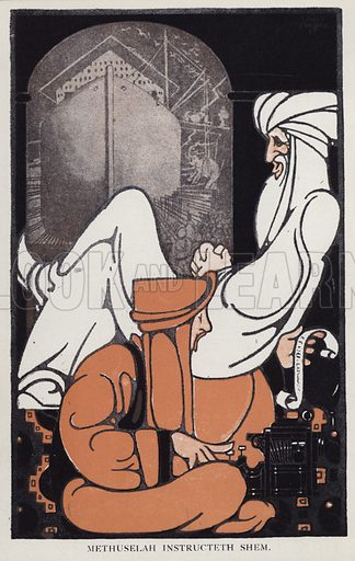 Methuselah instructeth Shem. Illustration for The Maxims of Methuselah In Regard to Women by Gilett Burgess with illustrations by Louis D Fancher (Arthur F Bird, c 1907).