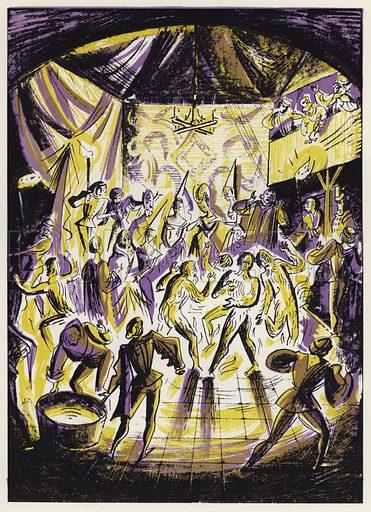 Le Bal des Ardents. Illustration for Memorable Balls edited by James Laver, illustrated by Walter Goetz (Derek Verschoyle, 1954).