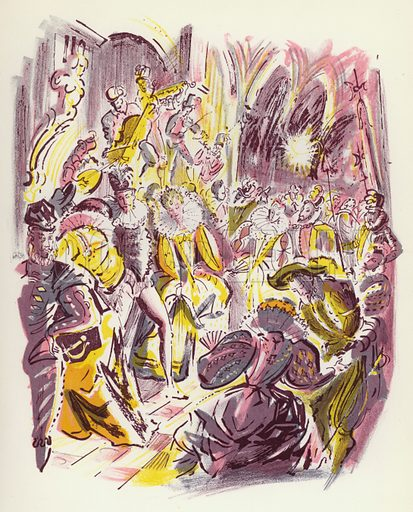 The Eve of the Massacre of St Bartholomew. Illustration for Memorable Balls edited by James Laver, illustrated by Walter Goetz (Derek Verschoyle, 1954).