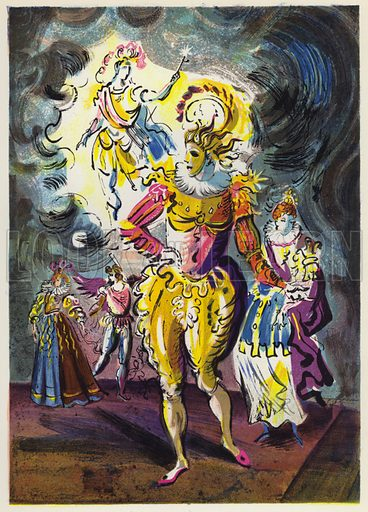 The Masque and Revels at the Marriage of Princess Elizabeth. Illustration for Memorable Balls edited by James Laver, illustrated by Walter Goetz (Derek Verschoyle, 1954).