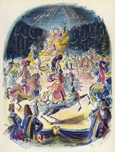 The Grande Fete d'Amour at Versailles. Illustration for Memorable Balls edited by James Laver, illustrated by Walter Goetz (Derek Verschoyle, 1954).