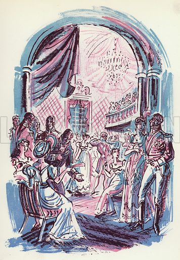 The Waterloo Ball. Illustration for Memorable Balls edited by James Laver, illustrated by Walter Goetz (Derek Verschoyle, 1954).
