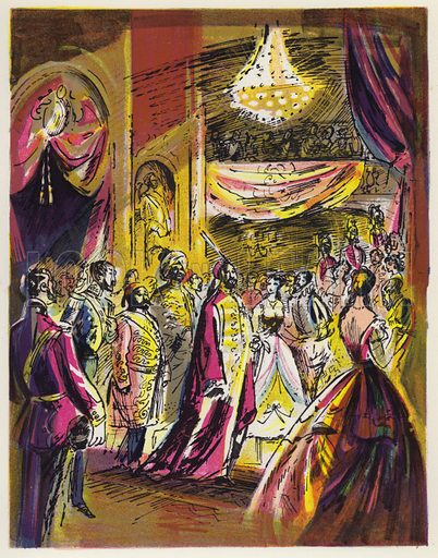 The Sultan's Ball at Constantinople. Illustration for Memorable Balls edited by James Laver, illustrated by Walter Goetz (Derek Verschoyle, 1954).