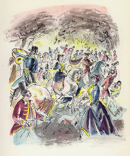 The 'Orgies of Compiegne.' Illustration for Memorable Balls edited by James Laver, illustrated by Walter Goetz (Derek Verschoyle, 1954).