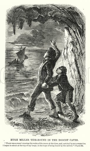 Hugh Miller tide-bound in the Doocot Caves. Illustration for Men Who Have Risen illustrated by C A Doyle (J S Virtue, c 1892).