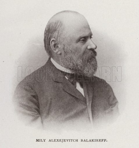 Mily Alexejevitch Balakireff. Illustration for Modern Composers of Europe by Arthur Elson (Pitman, 1909).