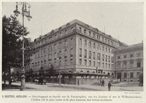 L'Hotel Adlon. Illustration for L'Allemagne Moderne by Jules Huret (Pierre Lafitte, 1913).