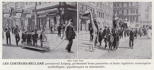 Les Corteges-Reclame. Illustration for L'Allemagne Moderne by Jules Huret (Pierre Lafitte, 1913).