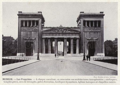 Munich, Les Propylees. Illustration for L'Allemagne Moderne by Jules Huret (Pierre Lafitte, 1913).