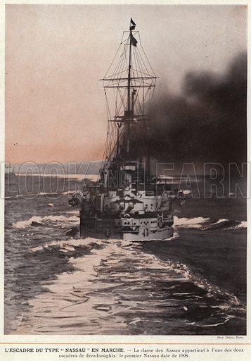 """L'Escadre Du Type """"Nassau"""" En Marche. Illustration for L'Allemagne Moderne by Jules Huret (Pierre Lafitte, 1913)."""