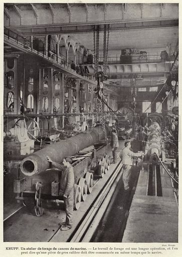 Krupp, Un atelier de forage de canons de marine. Illustration for L'Allemagne Moderne by Jules Huret (Pierre Lafitte, 1913).
