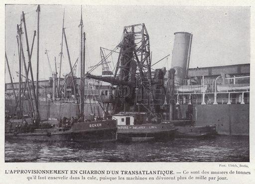 L'Approvisionnement En Charbon D'Un Transatlantique. Illustration for L'Allemagne Moderne by Jules Huret (Pierre Lafitte, 1913).