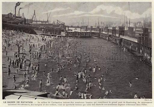 Le Bassin De Natation. Illustration for L'Allemagne Moderne by Jules Huret (Pierre Lafitte, 1913).