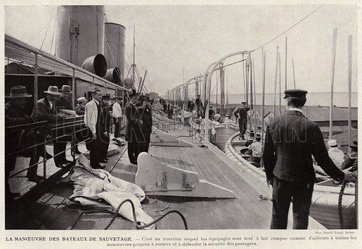 Le Manoeuvre Des Bateaux De Sauvetage. Illustration for L'Allemagne Moderne by Jules Huret (Pierre Lafitte, 1913).