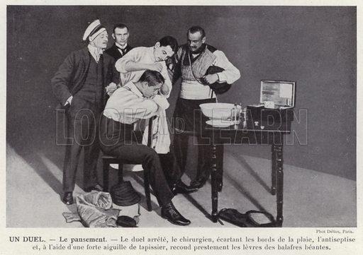 Un Duel, Le pansement. Illustration for L'Allemagne Moderne by Jules Huret (Pierre Lafitte, 1913).