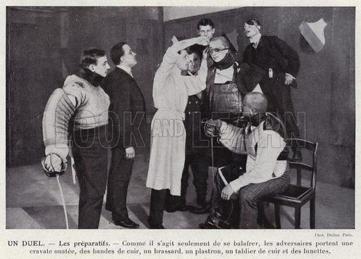 Un Duel, Les preparatifs. Illustration for L'Allemagne Moderne by Jules Huret (Pierre Lafitte, 1913).