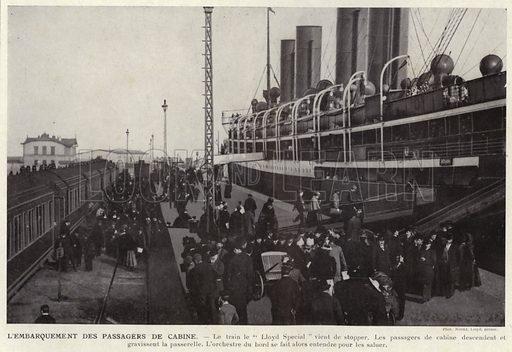 L'Embarquement Des Passagers De Cabine. Illustration for L'Allemagne Moderne by Jules Huret (Pierre Lafitte, 1913).