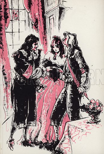 At length prevailed on me to consent. Illustration for Moll Flanders by Daniel Defoe with illustrations by Webster Murray (Arandar, 1946).