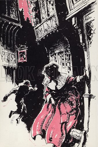 Threw a bundle that was in his hand just behind me. Illustration for Moll Flanders by Daniel Defoe with illustrations by Webster Murray (Arandar, 1946).