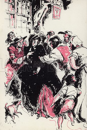 Swore aloud I was the person and so seized me. Illustration for Moll Flanders by Daniel Defoe with illustrations by Webster Murray (Arandar, 1946).