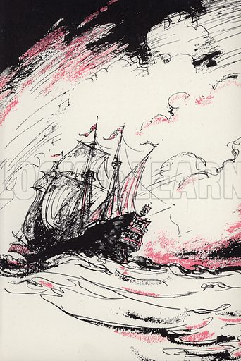 The voyage to Virginia. Illustration for Moll Flanders by Daniel Defoe with illustrations by Webster Murray (Arandar, 1946).
