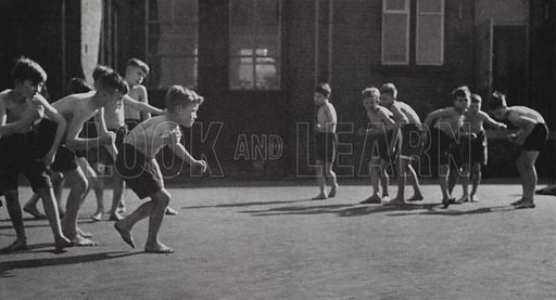 Illustration for Moving and Growing, Physical Education in the Primary School, prepared for the Ministry of Education and the Central Office of Information (HMSO, 1952).  The photographs by Edith Tudor-Hart are stated to be Crown Copyright, which lasts for 50 years.  Edith Tudor-Hart was an Austrian-British photographer, and communist-sympathiser.  Her photos of young children are quite delightful, and evidence of a world before the obesity epidemic.