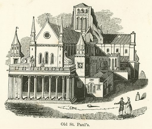 Old St Paul's. Illustration for Museum of Wonders Illustrated (D Omer Smith, c 1860).
