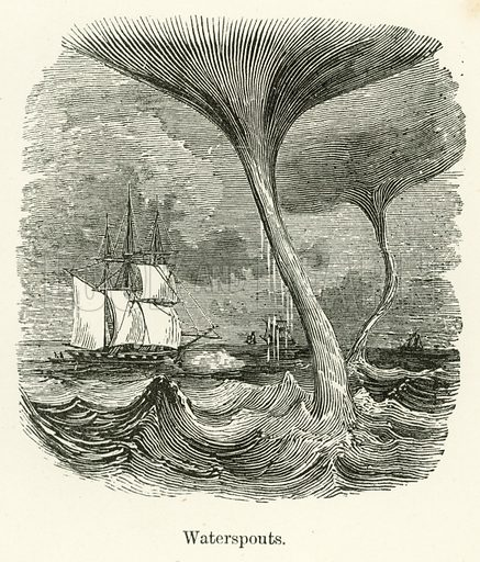 Waterspouts. Illustration for Museum of Wonders Illustrated (D Omer Smith, c 1860).