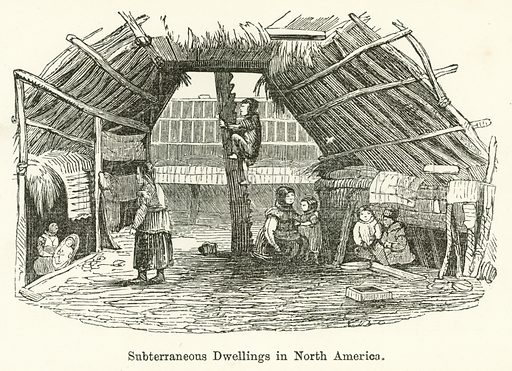 Subterraneous Dwellings in North America. Illustration for Museum of Wonders Illustrated (D Omer Smith, c 1860).