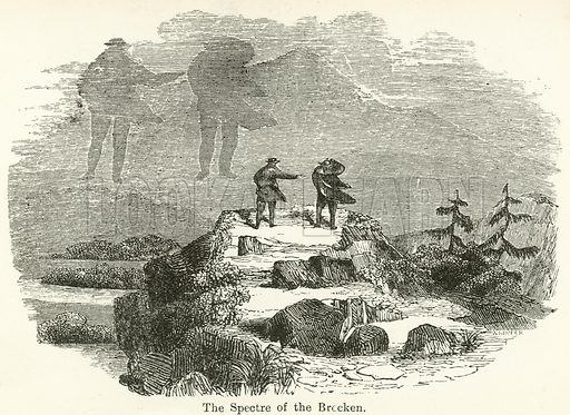 The Spectre of the Brocken. Illustration for Museum of Wonders Illustrated (D Omer Smith, c 1860).