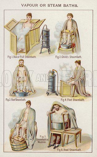Vapour or Steam Baths. Illustration for Bilz, The Natural Method of Healing (c 1888).