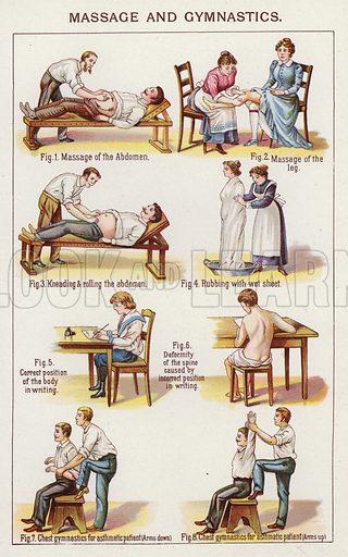 Massage and Gymnastics. Illustration for Bilz, The Natural Method of Healing (c 1888).